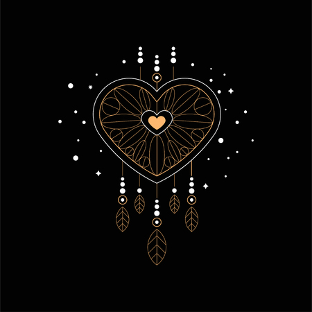 Dream catcher, ethnic symbol, design element for fashion print, label, poster vector Illustration isolated on a black background.
