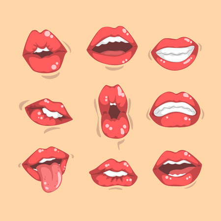 Set of shiny red womens lips showing different emotions. Female mouths with white teeth. Graphic elements for mobile app, sticker or promo poster. Cartoon style icons. Colorful flat vector design.