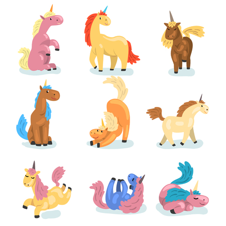 Collection of adorable unicorns in different actions. Cute mythical animal with single horn. Funny cartoon characters. Elements for postcard, children book or game. Isolated flat vector illustrations.