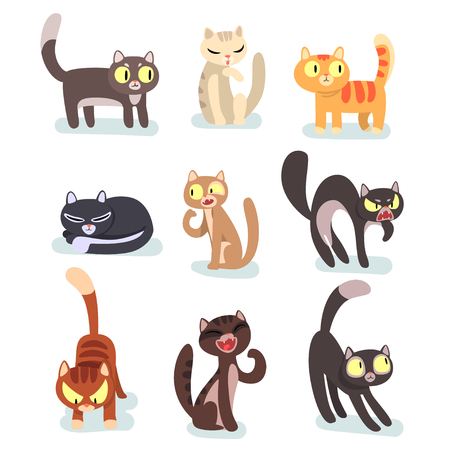 Collection of different cats. Funny cartoon characters. Home pets. Cute domestic animals. Graphic elements for poster, sticker or mobile game. Colorful flat vector design isolated on white background. Ilustração