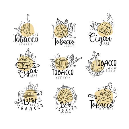 Insieme di progettazione del tabacco, gli emblemi possono essere utilizzati per il negozio di fumo, club per gentiluomini e prodotti del tabacco disegnati a mano illustrazioni vettoriali isolati su sfondo bianco.