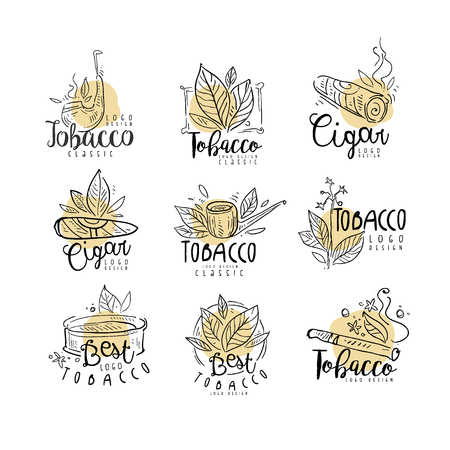 Tobacco   design set, emblems can be used for smoke shop, gentlemens club and tobacco products hand drawn vector Illustrations isolated on a white background.
