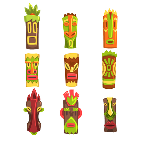 Traditional religious totems set, colorful ethnic tribal ritual masks vector Illustrations isolated on a white background. Illustration