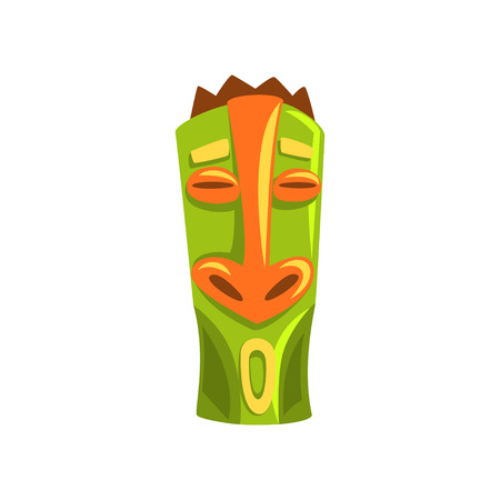 Tribal Hawaiian tiki mask, carved wooden statue cartoon vector Illustration isolated on a white background.