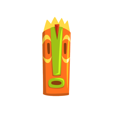 Tribal tiki mask, Hawaiian carved wooden statue cartoon vector Illustration isolated on a white background.