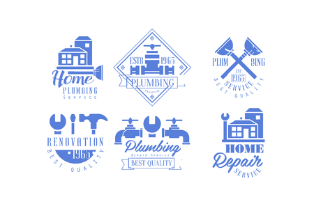 Vector set of blue templates for plumbing and home renovation services. Emblems with buildings, working instruments and water taps