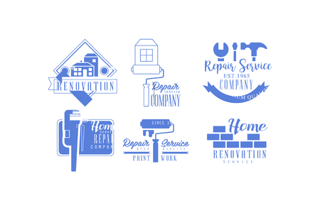 Original blue for repair services. Monochrome emblems for companies of home renovation and paint work. Vector design for promo poster Çizim