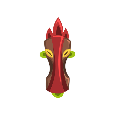 Tribal mask of idol or demon, carved wooden statue cartoon vector Illustration isolated on a white background. Zdjęcie Seryjne