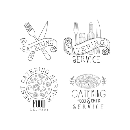 Collection of 4 monochrome catering service emblems. Hand drawn logo templates with food, wine bottle and glass, forks and knives. Creative vector design for business card, promo poster or banner.