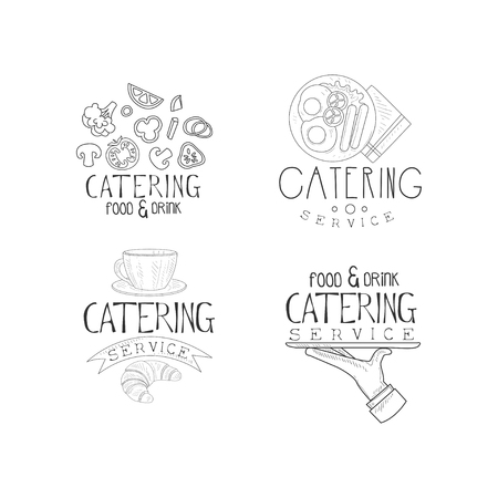Set of 4 sketch style emblems for catering companies. Food service theme. Monochrome logos with fresh vegetables, English breakfast, coffee cup and hand with tray. Vector design for advertising poster Illustration