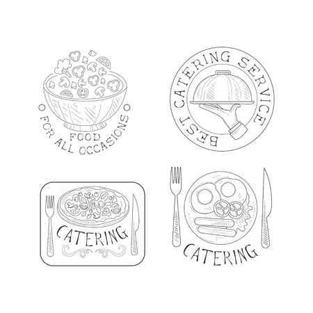 Set of 4 creative hand drawn emblems for catering services. Monochrome logos with salad bowl, hand with tray, tasty pizza and English breakfast. Food theme. Vector design for business company insignia
