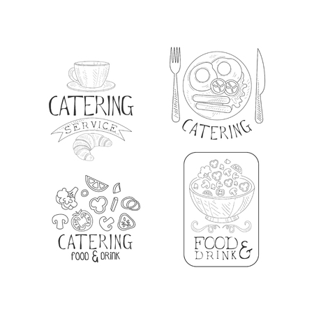 Creative catering service logo templates in sketch style. Hand drawn emblems with coffee cup, English breakfast, fresh vegetables and salad bowl. Vector design for advertising poster, banner or flyer.