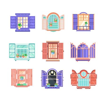 Collezione di 9 infissi in legno con ante. Elementi grafici per l'esterno dell'edificio. Tema della costruzione della casa. Icone di stile del fumetto. Illustrazioni vettoriali piatte colorate isolati su sfondo bianco.
