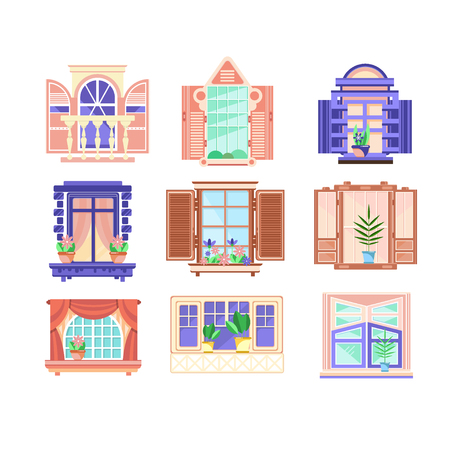 Collection of 9 colorful window frames. Flowers in pots on windowsills. House decoration elements. Building exterior theme. Flat vector illustrations isolated on white background. Cartoon style icons.