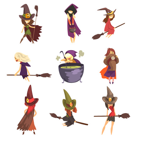Set of young witches in different actions. Flying on brooms, cooking potion in big pot and posing. Cartoon female characters in cone hats and capes with hoods. Halloween theme. Flat vector design. Illusztráció