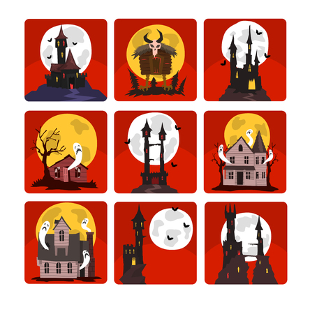 Set of scary castles with full moon and bats, old houses with ghosts and creepy hut on chicken legs. Halloween theme. Graphic design for story book or postcard. Flat vector isolated on red squares. 向量圖像