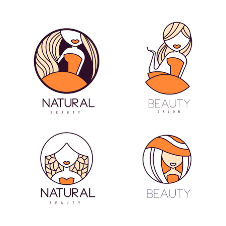 Set of original for beauty salon. Linear labels with orange fill. Stylish vector emblems with women silhouettes
