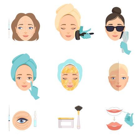 Abbildung, die Arten von Verfahren zur Gesichtsverjüngung zeigt. Therapieverfahren bei Facelift und Falten. Thema Schönheit. Grafische Elemente für Poster des Kosmetiksalons. Isolierte flache Vektorsymbole.