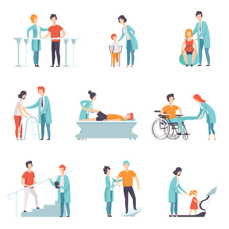 Set van mensen op revalidatie. Fysiotherapie kliniek. Artsen die met patiënten werken. Medische dienst. Zorg en behandeling thema. Kleurrijke platte vectorillustratie geïsoleerd op een witte achtergrond.