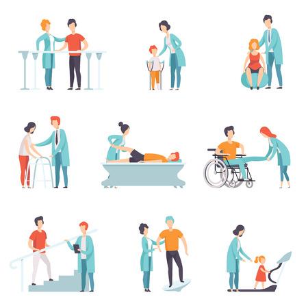 Zestaw osób na rehabilitacji. Klinika fizjoterapii. Lekarze pracujący z pacjentami. Usługa medyczna. Temat opieki zdrowotnej i leczenia. Kolorowy płaski wektor ilustracja na białym tle.