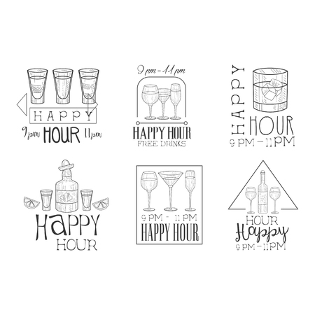 Set of original monochrome emblems for cocktail bar or restaurant. Hand drawn logo templates with glasses and bottles. Free drinks, happy hour. Vector design for advertising poster, flyer or banner. Illustration
