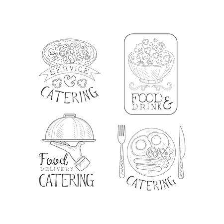 Monochrome logos for professional catering companies. Food service theme. Sketch style emblems with delicious dishes, hand with tray and calligraphic text. Vector design for promo poster or banner.