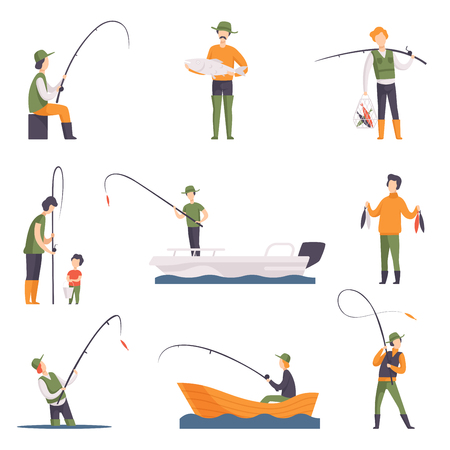 Collection of fishing people with fish and equipment. Fishermen in boats with fishing rods. Outdoor activity. Cartoon style icons. Colorful flat vector illustration isolated on white background.