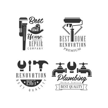 Logo templates for plumbing and repairing services. Home renovation company. Monochrome vector emblems with tools, water taps and text. Typography design for business card, promo poster or banner.