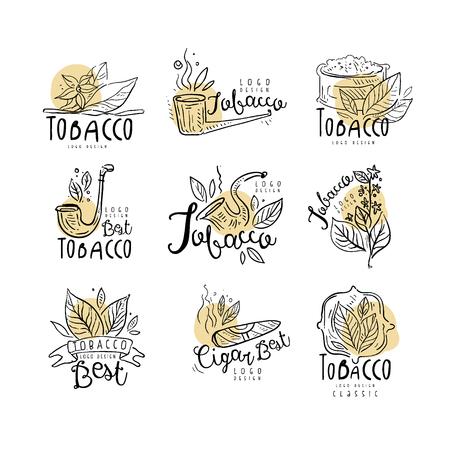 Miglior set di progettazione di logo di tabacco, emblemi possono essere utilizzati per negozio di fumo, club per gentiluomini e prodotti del tabacco disegnati a mano illustrazioni vettoriali isolati su sfondo bianco