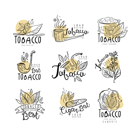Best tobacco logo design set, emblems can be used for smoke shop, gentlemens club and tobacco products hand drawn vector Illustrations isolated on a white background.