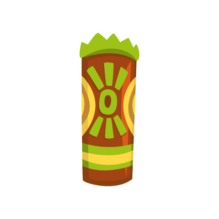 Tribal tiki mask, carved wooden statue cartoon vector Illustration isolated on a white background.