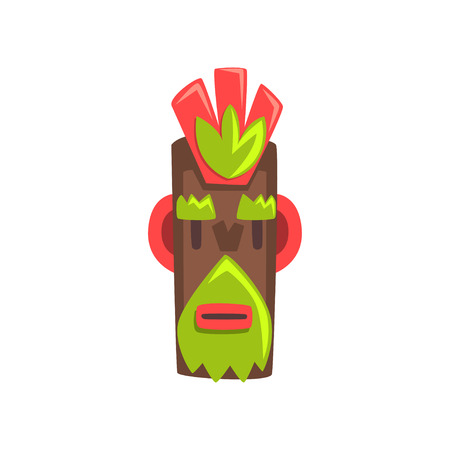 Tribal mask of idol, carved wooden statue cartoon vector Illustration isolated on a white background.