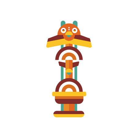 Tribal totem, native religious cultural tribal symbol vector Illustration isolated on a white background.