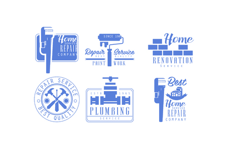 Collection of 6 monochrome logos for plumbing and home renovation services. Blue emblems with working tools for house repair and paint work company. Original vector design for promo banner or poster.