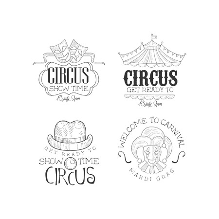 Collection of 4 sketch style emblems for circus and Mardi Gras carnival. Entertainment theme. Original hand drawn logo templates for advertising banner, poster or flyer. Isolated vector illustrations.
