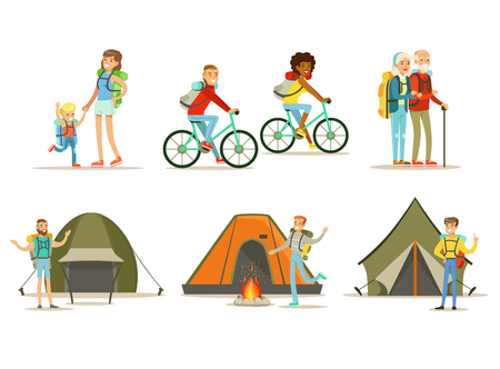 Set of happy traveling people. Outdoor activity. Hiking, camping and cycling travel. Active summer recreation. Cartoon tourists characters. Colorful flat vector design isolated on white background. Ilustração