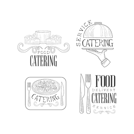 Collection of 4 logos for catering services. Hand drawn emblems with coffee cup and cakes, serving tray, delicious pizza and cutlery. Sketch style vector design for company insignia or promo poster. Illustration
