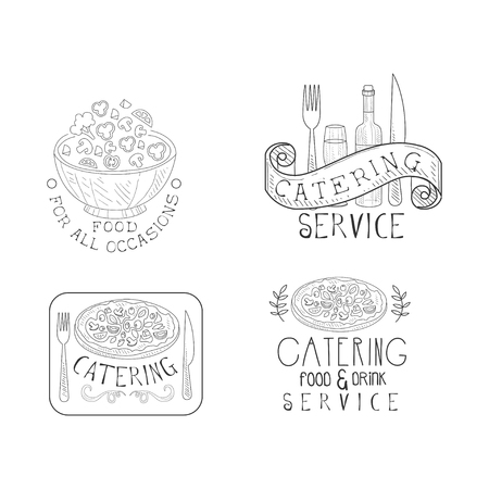 Original monochrome insignias for professional catering companies. Hand drawn emblems with salad bowl, wine bottle and glass, pizza and calligraphic text. Vector design for promotional poster or flyer
