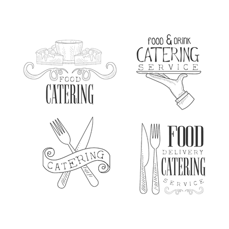 Set of sketch style emblems for catering services. Hand drawn black and white logos with coffee cup and cakes, hand with serving tray and cutlery. Vector design for advertising poster or business card