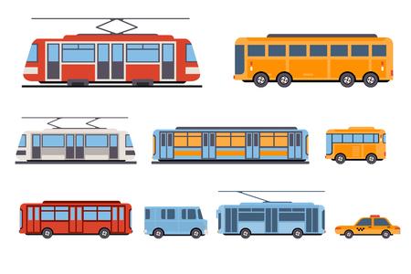 Public city transport set, taxi, bus, subway, tram vector Illustrations isolated on a white background. Vektorgrafik
