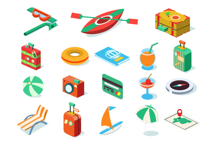 Travel icons set, summer vacation objects vector Illustrations isolated on a white background.