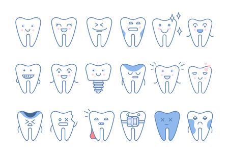 Funny teeth characters with different emotions set, dentistry and treatment vector Illustrations isolated on a white background. Illustration