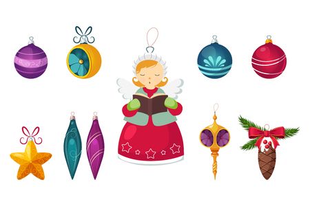 New Year traditional symbols collection, Christmas tree decorations, balls, star, icicles, angel decor vector Illustrations isolated on a white background. Illustration