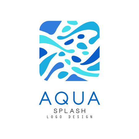 Aqua splash design, corporate identity template with blue water, ecology element for poster, banner, card, presentation vector Illustration