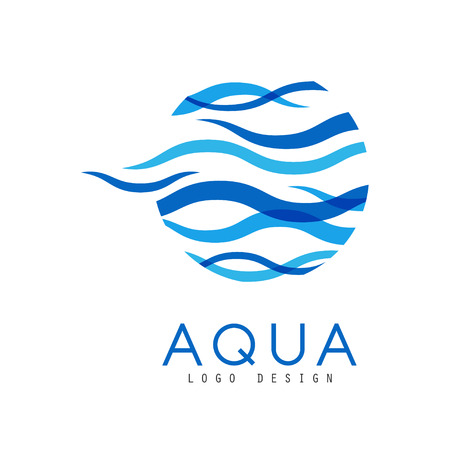 Aqua design, corporate identity template with blue water, ecology element for poster, banner, card, presentation vector Illustration