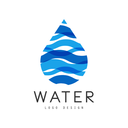 Water design, corporate identity template with blue drop, ecology element for poster, banner, card, presentation vector Illustration  イラスト・ベクター素材