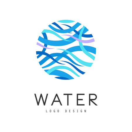 Water design, brand identity template, ecology element for poster, banner, card, presentation vector Illustration on a white background  イラスト・ベクター素材