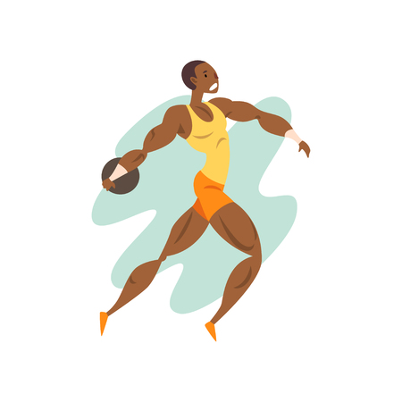 Muscular athlete man throwing a kernel, professional sportsman at sporting championship athletics competition vector Illustration on a white background