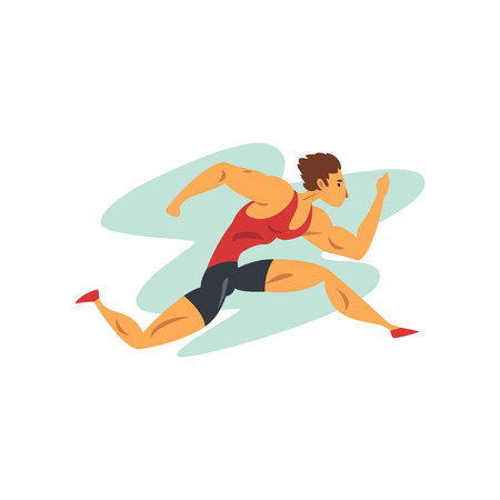Athlete man running, professional sportsman at sporting championship athletics competition vector Illustration isolated on a white background.