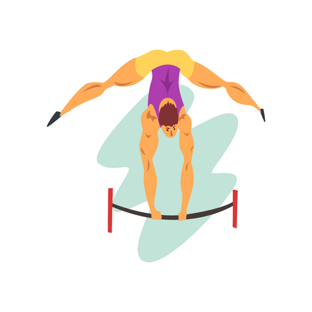 Male athlete on balance beam, professional sportsman at sporting championship athletics competition vector Illustration isolated on a white background.